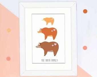 Personalised bear family print nursery print family portrait original bear family print new baby, custom family tree print