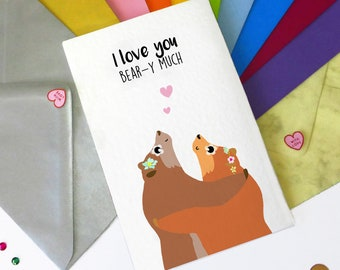 Personalised bear card for couples, Father's Day, Mother's Day card, bear hug, gift for couples, anniversary card, engagement card