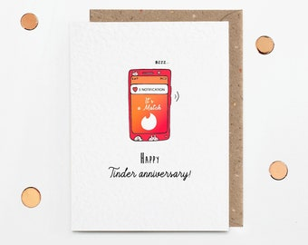 Tinderversary card for girlfriend or boyfriend, Tinder card, love at first swipe, first second third anniversary