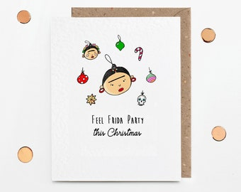Feel Frida Party this Christmas, Minimalist A6 Card, With Recycled Kraft Envelope