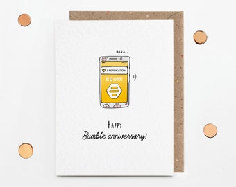 Bumble anniversary card for couple, funny swiped right card, girlfriend boyfriend husband wife love card