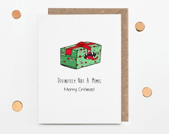 Not A Mimic Christmas Card, Funny Dungeons and Dragons Critmas Cards