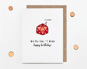 Dungeons and Dragons birthday card, funny D&D card for girlfriend or boyfriend, +1 wisdom, geek cards