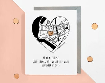 Wedding countdown card, custom location map, worth the wait, for almost husband wife