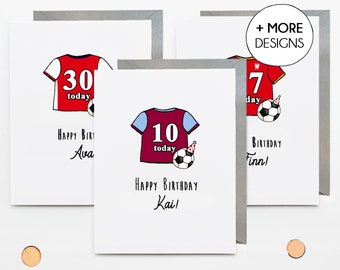 Personalised football kit birthday card, teenager son nephew, 13th 14th 15th 16th 17th 18th