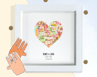 CUSTOM map location print, in bright colours, where we met, anniversary gift for him her