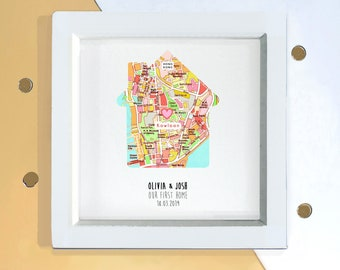 Custom new home owner map gift, housewarming present for host, sustainable house decor