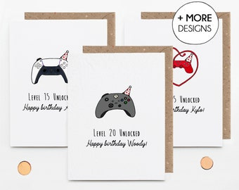 Personalised gamer birthday card, game controller, teenager son nephew, 13th 14th 15th 16th 17th 18th