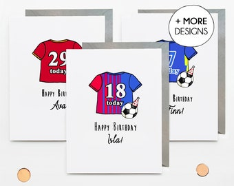 Custom football shirt birthday card, for daughter son teenager grandson, 13th 14th 15th 16th 17th 18th