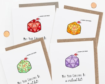 Dungeons and Dragons Christmas card set, for Dnd Players Group, Critical Hit Critmas
