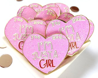 Cute Valentine gift - pink enamel pin - friend gift - gift for her -  hen party - feminist jewellery - Valentine present
