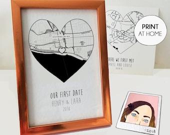 First date custom map, DIGITAL DOWNLOAD, first year anniversary boyfriend, 6 month anniversary, romantic Christmas gift