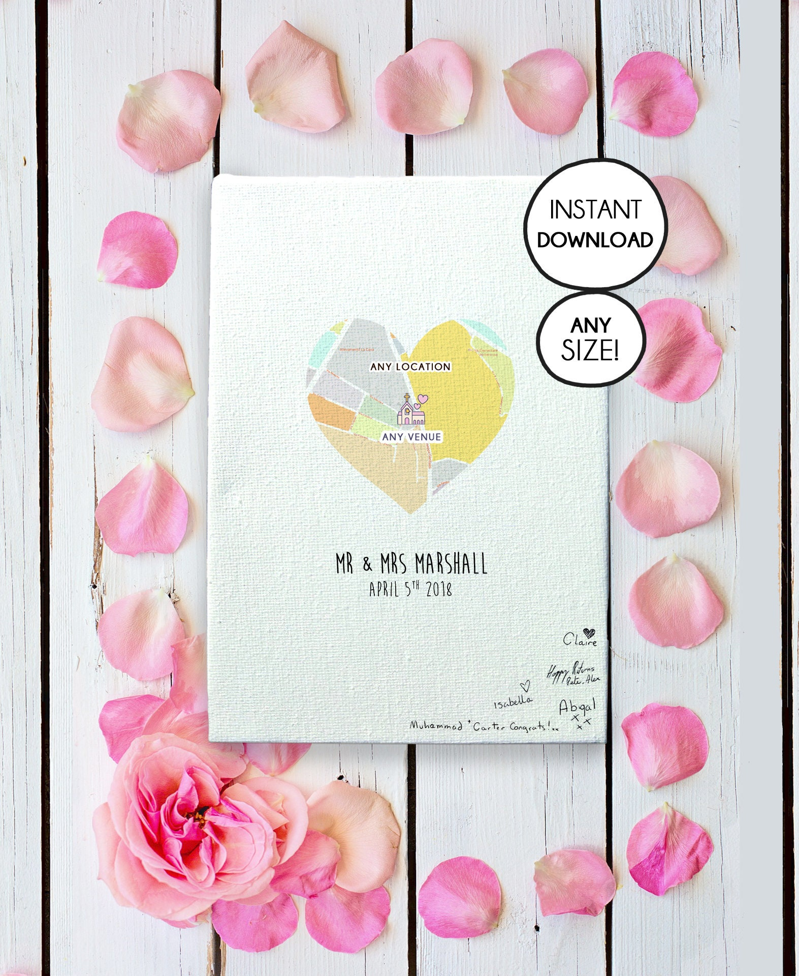 Personalized Wedding Canvas: Personalized Wedding Canvas Guest Book Canvas Wedding