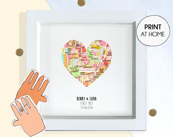 Custom download map, where it all began, romantic gift for him her, 1 2 3 4 5 7 10 year anniversary