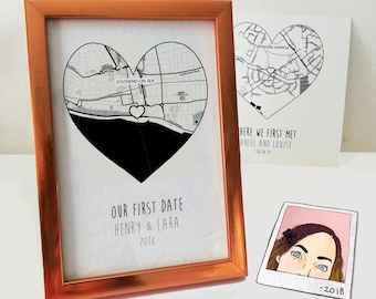 Custom map first date gift, first year anniversary boyfriend, 6 month anniversary, long distance couple, Christmas gift for him