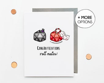 Dungeons and Dragons wedding card, funny D&D gift for bride groom. roll mates gamer couple