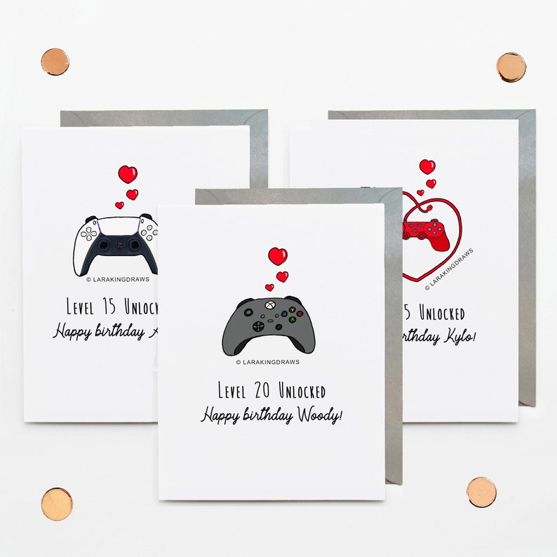 Personalised gamer birthday card XBOX PS5 game controller image 0