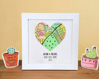Personalised new home frame gift, map housewarming gift for couple, print at home decor