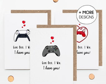 Personalised Game Controller Valentine's Day Card, Gamer Anniversary, Pick Any Controller