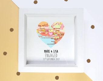 Handmade engagement frame, personalised engaged couples gift, map proposal keepsake