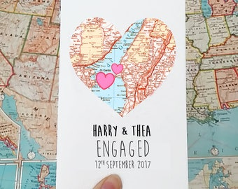 Personalised engagement card - wedding card - marriage card - She said yes - Map engagement heart - card for bride - honeymoon card gift