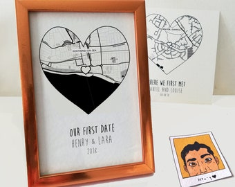 Custom black white maps, first date location, one year anniversary gifts for boyfriend, 6 months together
