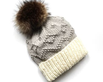 100% merino wool recycled fur pompom knit hat folded brim // The Alpine Hat