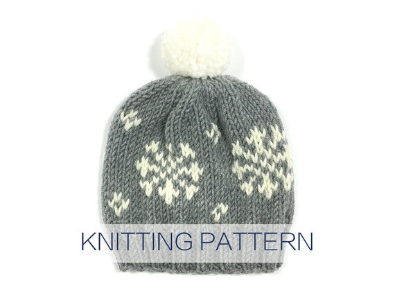 PATTERN for knit winter fair isle pattern pompom hat    The  07dd7492a37