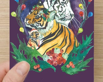 Tiger Christmas Greeting Card (QUALITY Linen/ Silk Paper Stock)