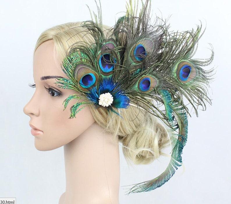 Black Dark Green Lady Amherst Pheasant Feather Fascinator Hair Clip Vintage 130