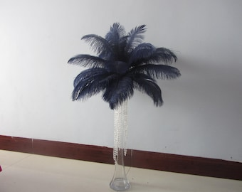 100 Navy Blue ostrich feathers for handmade items feather centerpiece,hat,fascinator,millinery wedding decor