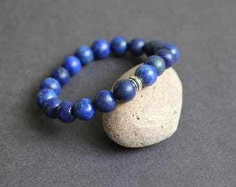 Yoga blue bracelet Stretch blue bracelet Lapis lazuli stone bracelet 925 silver bead bracelet Dark blue jewelry Blue chakra gift bracelet