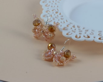 Beige weddings earrings Peach crystal butterfly earrings Bridal earrings Butterfly beaded earrings Beige crystal jewelry Bridesmaid jewelry