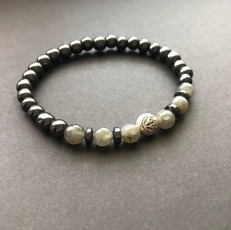 Hematite lotus bracelet Big sister gift bracelet