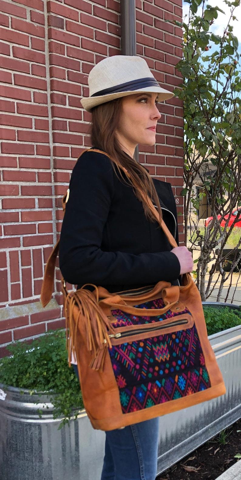 Medium Huipil Bag-Everyday Tote Bag-Adjustable Shoulder Strap-Guatemalan Bag