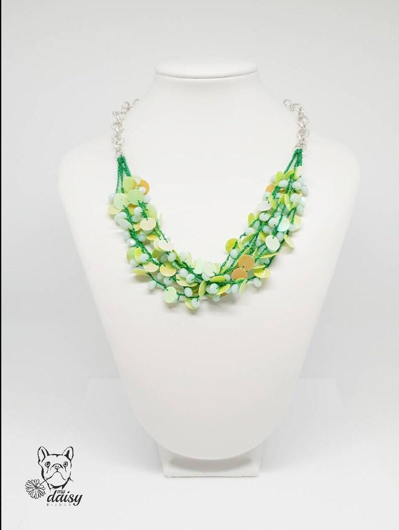 Collana Alluncinetto Verde Con Cristalli E Paillettes Etsy