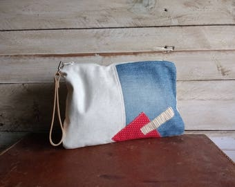 Clutch recycled jeans and cotton