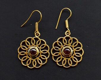 5.3 Gram Beautiful Designer Natural Garnet Earring Brass Gold Plated Handmade Jewelry Size 4.3x2.5 CM Earring Jewellery SM236