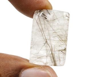 17 Carat Natural Black Rutile Gemstone Loose Cabochon Rectangle Shape Tourmilated Quartz Jewelry Making Black Needle In Stone G29816