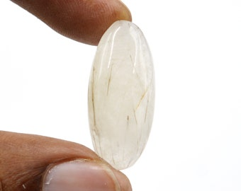 14 Carat Natural Black Rutile Gemstone Loose Cabochon Oval Shape Tourmilated Quartz Jewelry Making Black Needle In Stone G29824