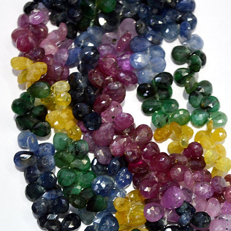 SOLD sale Natural Multi sapphire Faceted Pears 4X6 mm  50 pieces  multi mox color Loose multi sapphire
