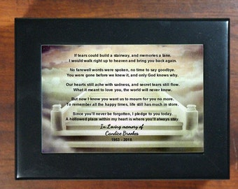 Personalized If Tears Could Build a Stairway Memorial Keepsake Box  Photo Keepsake Wood Box Loss of a loved one Sympathy Gift