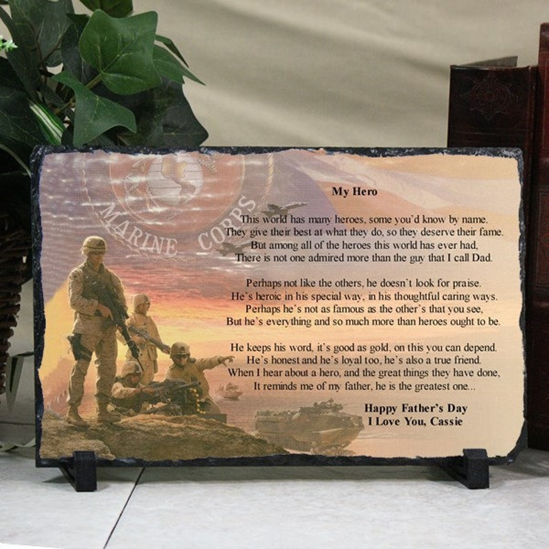 Personalized Christmas Gift For Dad US Marines Plaque Poem You