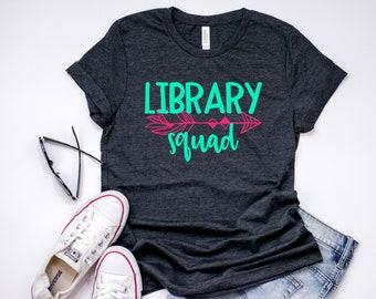 dc0fa524bed1 Librarian Shirt Library Squad Tee T-Shirt T Shirt Minimalist Womens Unisex  Elementary Preschool Kindergarten Teacher Faculty School Staff