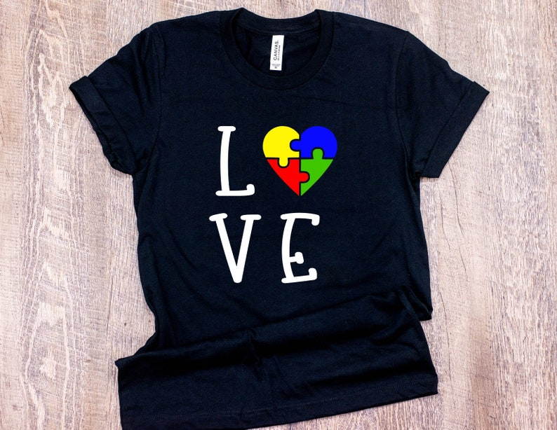 a83f29399 Autism Awareness Love Heart Puzzle Tee T-Shirt Shirt Puzzle   Etsy