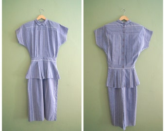 Vintage 50s Faded Blue Striped Cotton Blend Day Dress