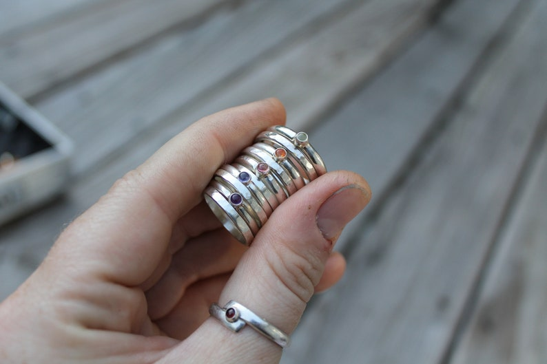 Pink Tourmaline Stacker Rings Silver Rings Hammered Ring Sterling Silver Rings OOAK Jewelry Handmade Stacker Set Birthstone Ring Size 6.5