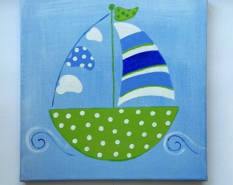 Boat canvas painting. Nursery Decor.  30cm X 30cm shades of blue and lime. Beautiful addition to any kids room, playroom or nursery.