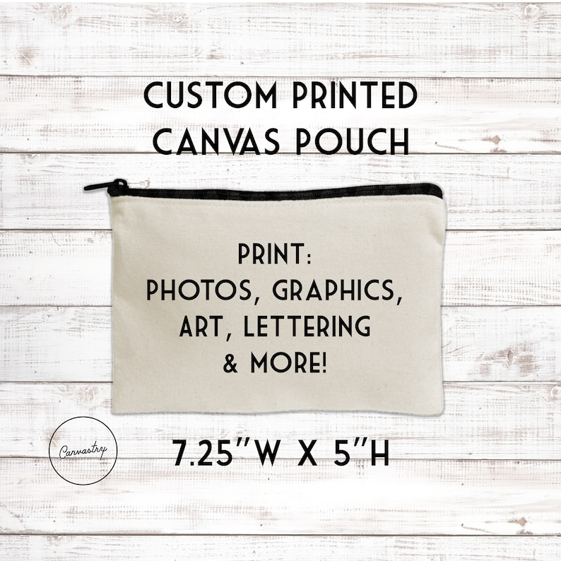 d23bca32e030 Personalized Medium Zippered Pouch - Your Art or Text, Custom Canvas Makeup  Bag, Gift for Women