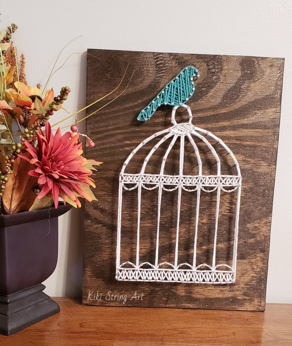 Bird cage string art, bird cage sign, bird cage decor, unique gift,  Valentine's gift, string art bird, string art bird cage, bird decor